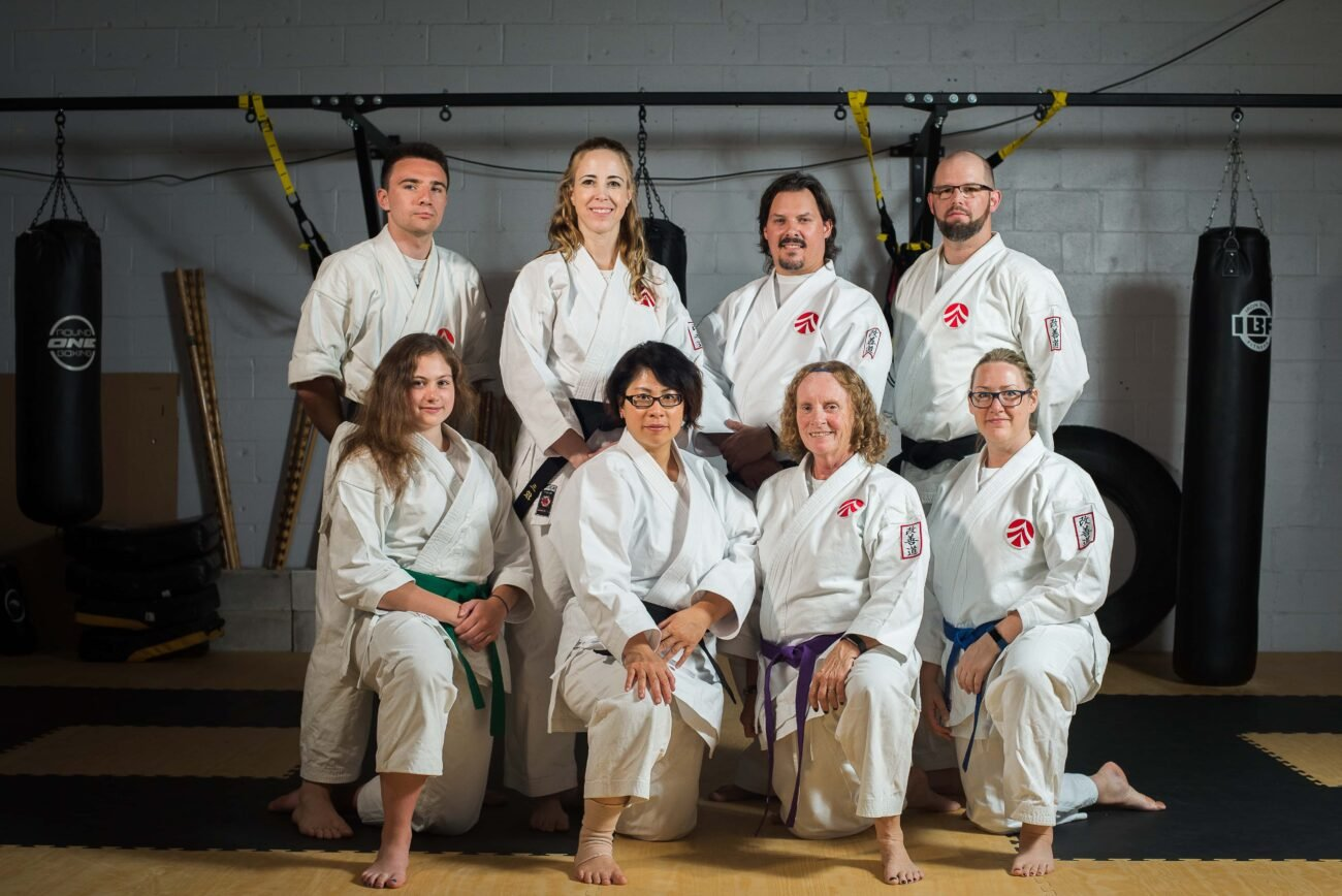 Group photo of adult karate students